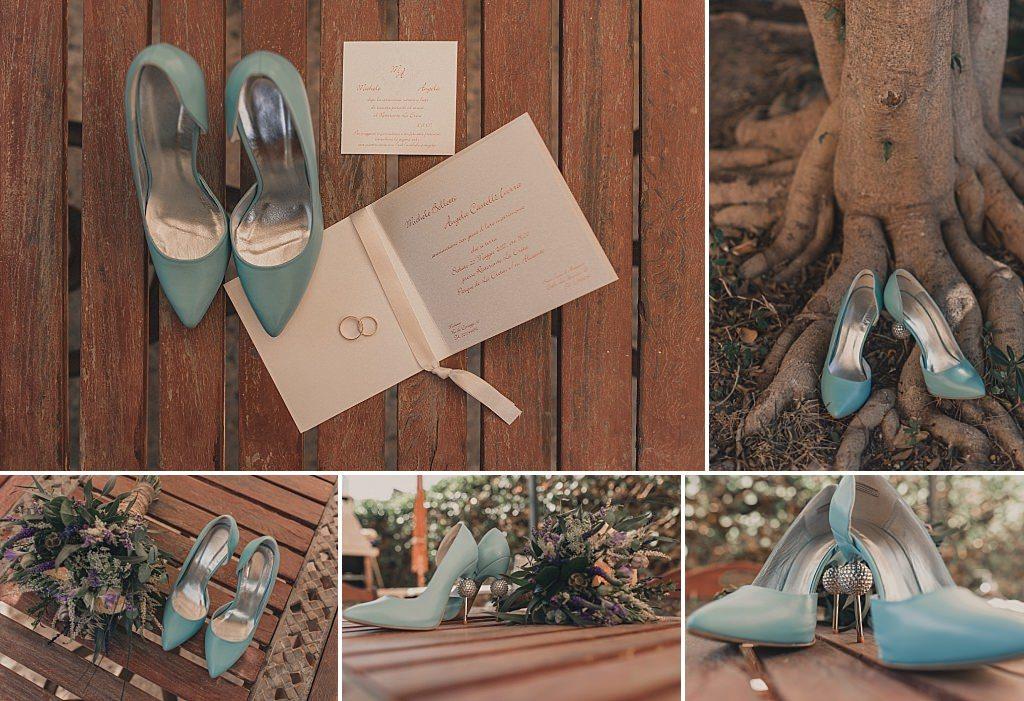 Azul para los zapatos nupciales
