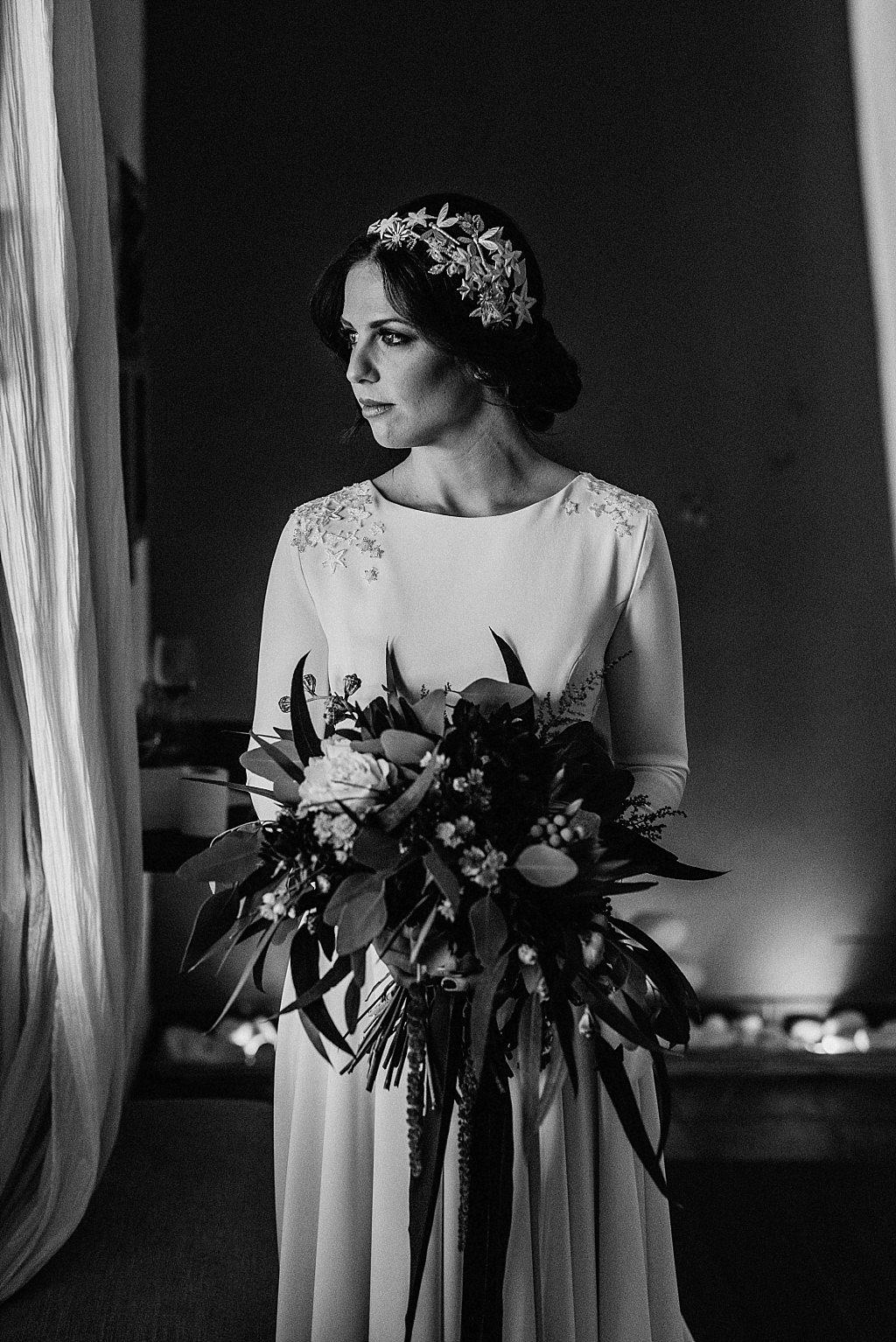 Fotografía novia en blanco y negro