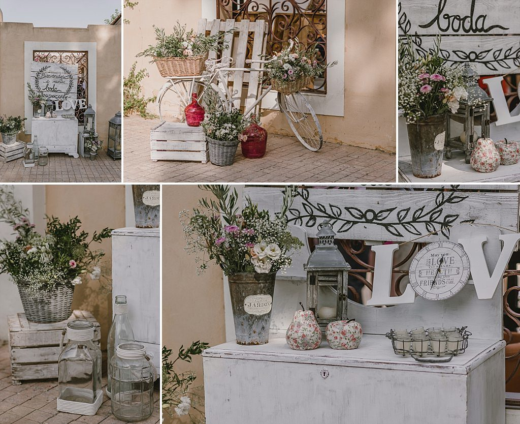 Detalles decorativos de boda en Finca Parque de la Marquesa